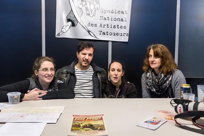 Mymy, Marco Zilveti, ?, Caroline au Mondial du Tatouage 2016. Photo Claude Bencimon © 2017.