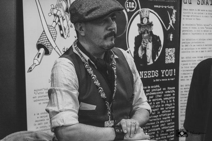 Marco Zilveti au stand des concours du Mondial du Tatouage 2019. Photo Marie Manson © 2019 - Déclics & Pix'elle.