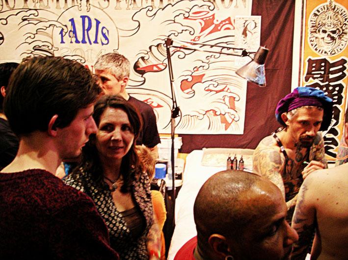 Avec Phillip Leu, Merlijn et Birgit au Mondial du Tatouage 2014.